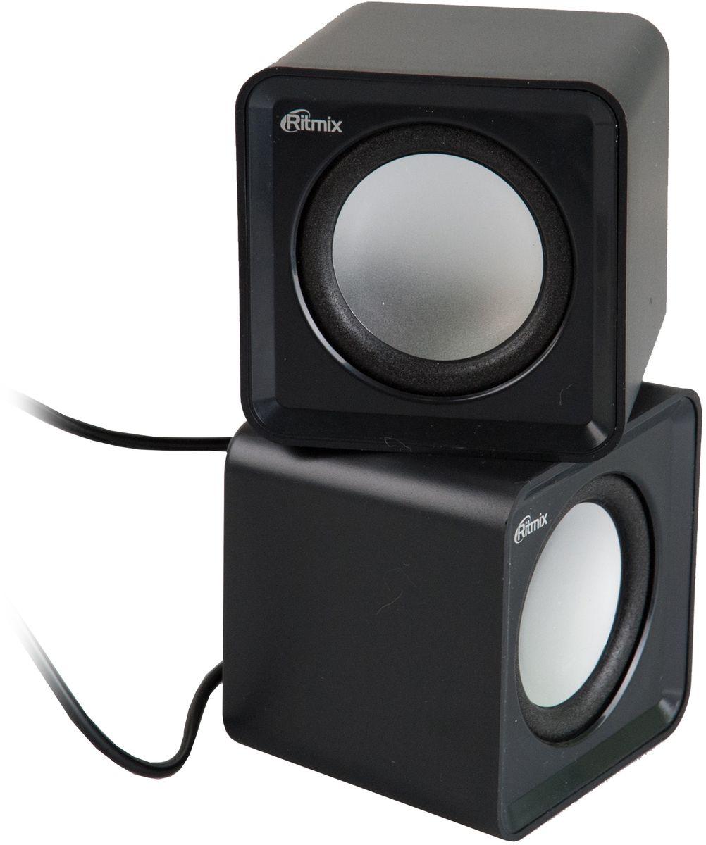 Ritmix SP-2020, Black акустическая система610005702.0, USB, jack 3.5 мм, 5 Вт (2*2,5), динамики 4,5 см, 90-20000 Гц, рег. громкости, 176 гр., 62*62*55.2 мм.