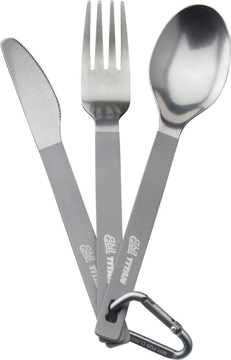Столовый набор Esbit: ложка, вилка, нож, с карабином и чехломTC3-TIЛегкий титановый столовый набор, в который входит вилка, ложка и нож. Набор компактно складывается в нейлоновый чехол.Особенности:компактный, прочный и легкийнейлоновый чехол на липучке с петлей для ремняполированная верхняя часть