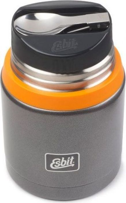 Термос для еды Esbit FJSP, c ложкой, цвет: темно-серый, оранжевый, 0,75 лFJ750SP-GOНовый стальной термос для еды с двойными стенками. Просто открыв крышку, которую можно использовать как тарелку, наслаждайтесь горячими блюдами. В комплект входит компактная стальная ложка, крепится внутри в специальное отверстие во внутренней пробке. Термос сохраняет блюда холодными / горячими длительное время. Благодаря широкому горлу его легко мыть.Особенности:- высококачественная нержавеющая сталь;- прочный;- в комплект входит компактная стальная ложка;- стальную крышку с двойными стенками можно использовать как тарелку (310 мл);- сохраняет пищу холодной / горячей длительное время;- благодаря широкому горлу удобно паковать блюдо, есть и легко мыть термос;Характеристики:При температуре 98°C и температуре окружающей среды 20°C ± 2°С температура:- через 6 ч: 70°C;- через 12 ч: 60°C;- через 24 ч: 40°C;Технические характеристики: - Материал: нержавеющая сталь.- Размер: 165 х 109 мм.- Вес: 548 г.- Объем: 750 мл.