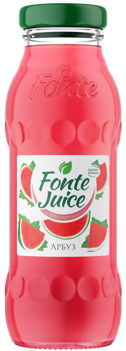 """Fonte juice Нектар из арбуза 0,2 л4607050697189100% натуральный Fonte Juice обогащён комплексом витаминов С, В3,В5 и В6, которые способствуют повышению иммунитета. Новый арбузный вкус создан, чтобы напоминать о жарком лете и дарить ощущение приятной прохлады. Fonte Juice """"Арбуз"""" – любовь с первого глотка.Рекомендовано к употреблению с 5 лет."""