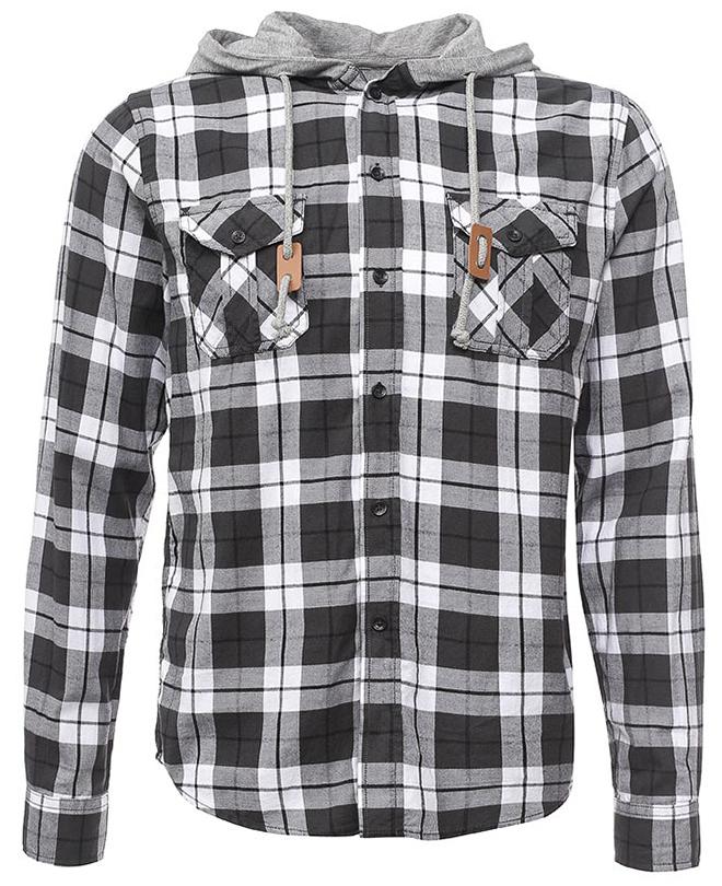 Рубашка мужская Sela, цвет: черный. H-412/006-7320. Размер 37 (40)H-412/006-7320Ультрамодная мужская рубашка от Sela выполнена из натурального хлопка. Модель с длинными рукавами и трикотажным капюшоном застегивается на пуговицы. На груди рубашка дополнена накладными карманами с клапанами.