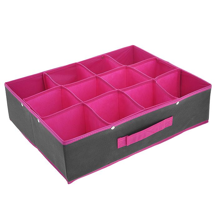 Кофр для хранения, 12 секций, цвет: серый, розовый, 45 х 35 х 12 смFS-6108RКофр для хранения изготовлен из высококачественного нетканого материала, который позволяет сохранять естественную вентиляцию, а воздуху свободно проникать внутрь, не пропуская пыль. Удобные секции предназначены для хранения белья и мелких вещей. Благодаря специальным вставкам, кофр прекрасно держит форму, а эстетичный дизайн гармонично смотрится в любом интерьере. Мобильность конструкции обеспечивает складывание и раскладывание одним движением.