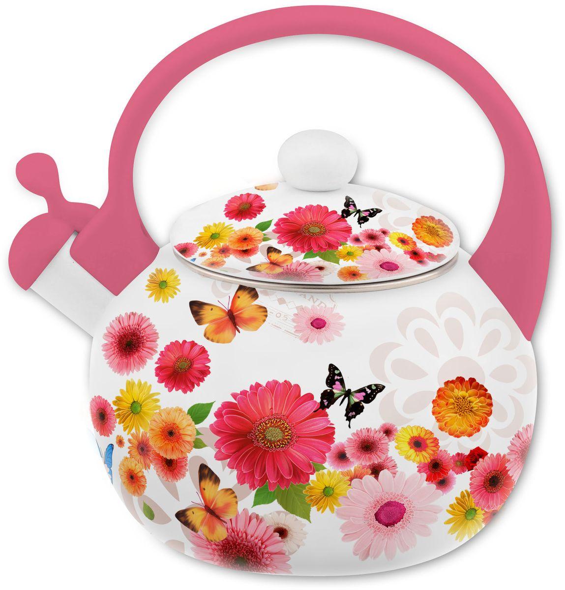 Чайник Appetite Симфония, со свистком, 2 л4690510053571Чайник Appetite Симфония изготовлен из высококачественного стального проката с эмалированным покрытием. Эмалированная посуда очень удобна в использовании, она практична и элегантна. За такой посудой легко ухаживать: чистить и мыть. Чайники с эмалированным покрытием обладают неоспоримым преимуществом: гладкая поверхность не впитывает запахи и препятствует размножению бактерий.Чайник оснащен удобной бакелитовой ручкой. Носик чайника имеет откидной свисток, звуковой сигнал которого подскажет, когда закипит вода.Подходит для использования на всех видах плит: электрических, газовых, стеклокерамических, индукционных.