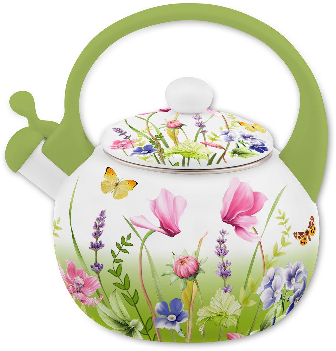 """Чайник Appetite """"Примавера"""" изготовлен из высококачественного стального проката с  эмалированным покрытием. Эмалированная посуда очень удобна в использовании, она практична  и элегантна. За такой посудой легко ухаживать: чистить и мыть. Чайники с эмалированным  покрытием обладают неоспоримым преимуществом: гладкая поверхность не впитывает запахи и  препятствует размножению бактерий. Чайник оснащен удобной бакелитовой ручкой. Носик  чайника имеет откидной свисток, звуковой сигнал которого подскажет, когда закипит вода. Подходит для использования на всех видах плит: электрических, газовых, стеклокерамических,  индукционных."""