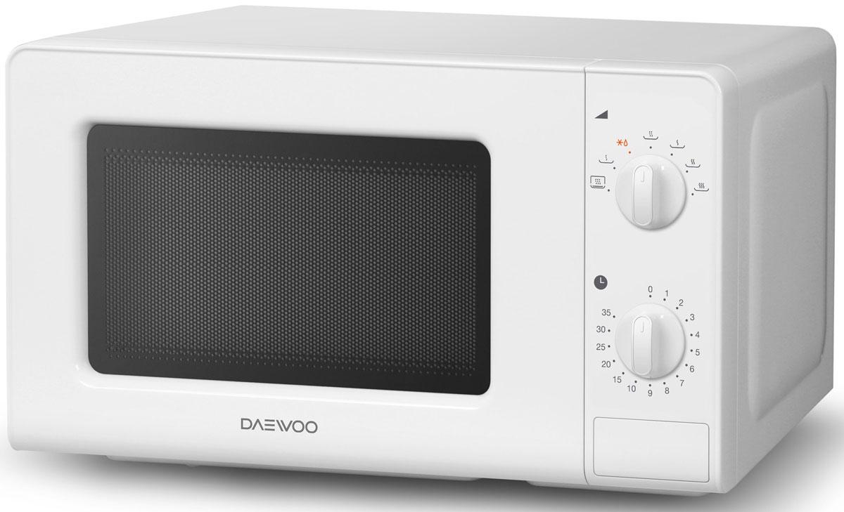 Daewoo KOR-6607W, White СВЧ-печьKOR-6607WМикроволновая печь Daewoo KOR-6607W с механическим типом управления оснащена системой вогнутых отражателей C.R.S, с помощью которых электромагнитные волны концентрируются на блюде и распределяются равномерно. В микроволновой печи присутствует одновременный разогрев двух блюд (опция). Управляется прибор при помощи поворотных переключателей. Имеется 7 уровней мощности.