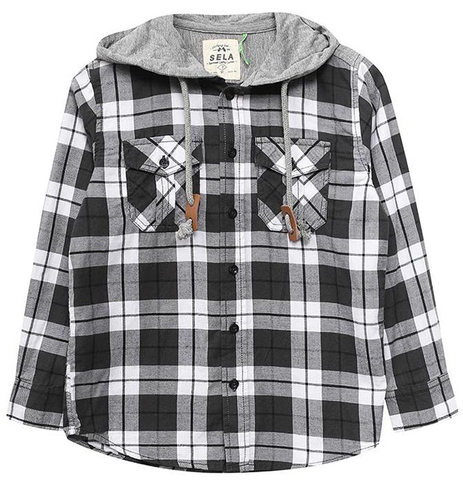Рубашка для мальчика Sela, цвет: черный. H-812/021-7331. Размер 128H-812/021-7331Ультрамодная рубашка от Sela выполнена из натурального хлопка. Модель с длинными рукавами и трикотажным капюшоном застегивается на пуговицы. На груди рубашка дополнена накладными карманами с клапанами.