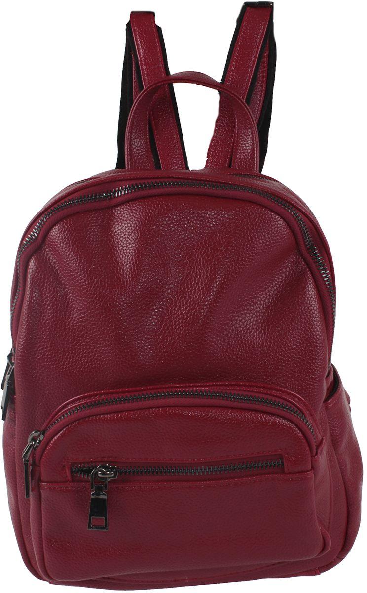 Женская сумка-рюкзак Flioraj выполнена из искусственной кожи. Она закрывается на молнию. Внутри одно отделение, два кармана на молнии,  один открытый карман. Снаружи четыре кармана на молнии, два открытых кармана. Размер: 21 х 11 х 26 см.