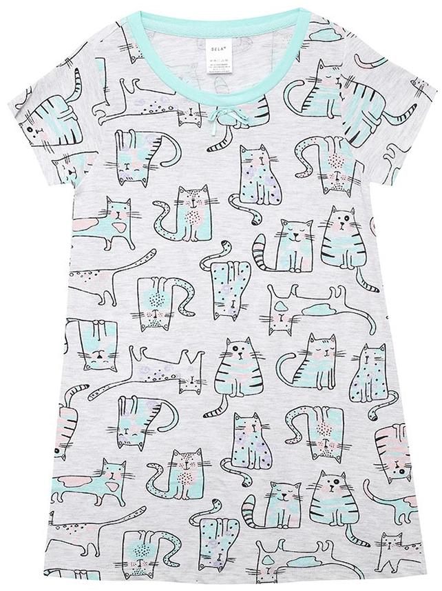 Ночная рубашка для девочки Sela, цвет: светло-серый. NDb-5661/106-7311. Размер 116/122NDb-5661/106-7311Ночная рубашка от Sela выполнена из натурального хлопка. Модель свободного кроя с короткими рукавами и круглым вырезом горловины.