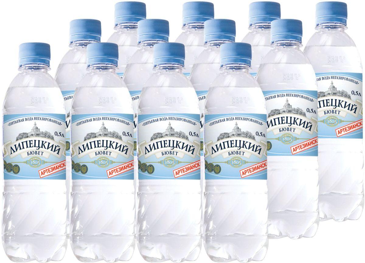 Липецкий Бюветводаартезианская питьевая негазированная, 12 шт по 0,5 л aqua minerale вода питьевая негазированная 6 штук по 2 л