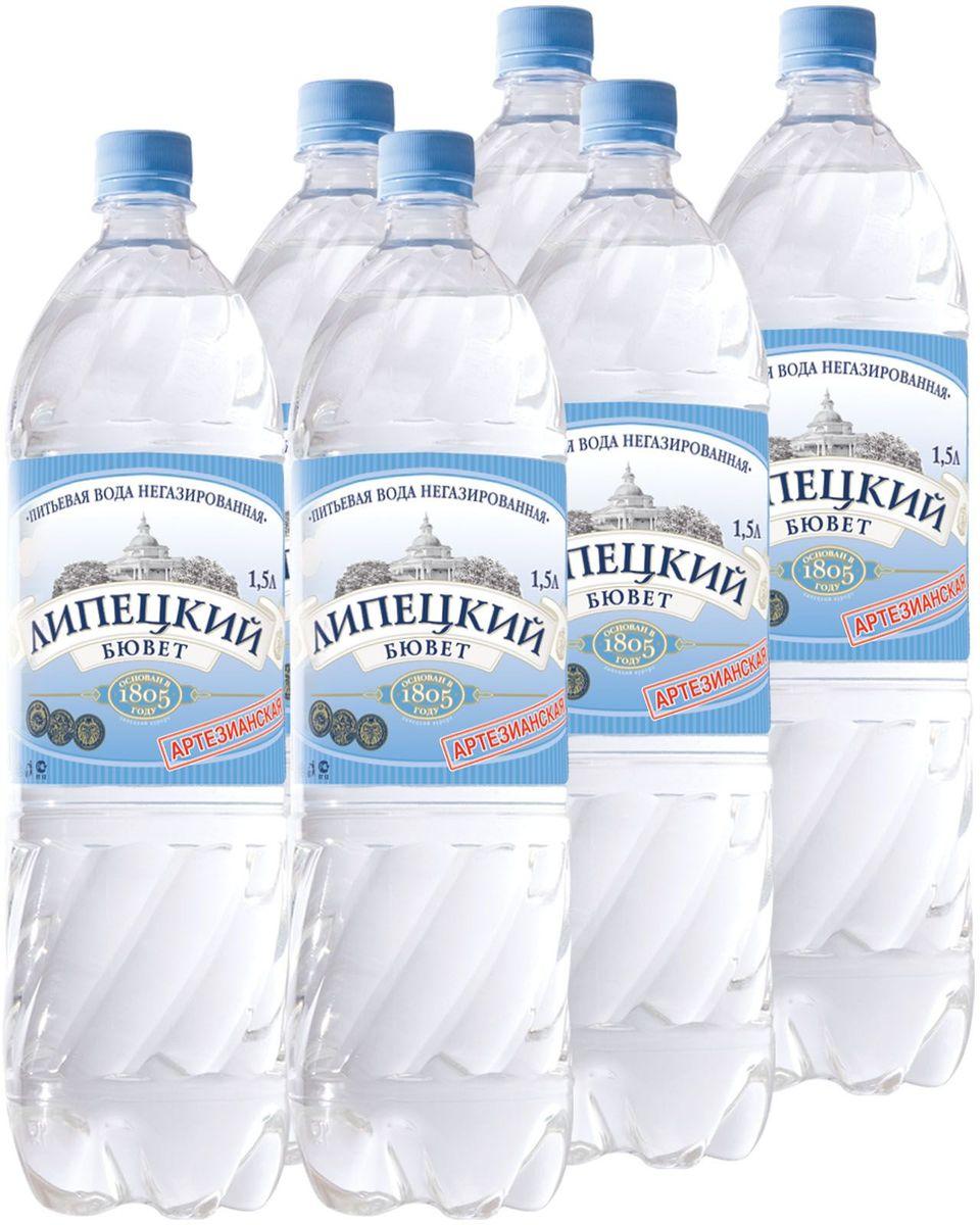 Липецкий Бюветводаартезианская питьевая негазированная, 6 шт по 1,5 л aqua minerale вода питьевая негазированная 1 5 л