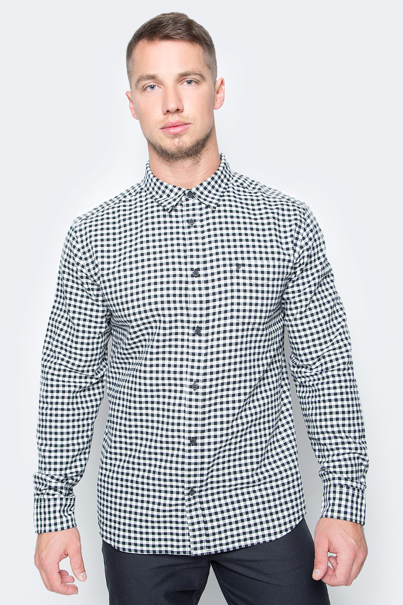 Рубашка мужская Wrangler, цвет: белый, черный. W5760NB02. Размер M (48)