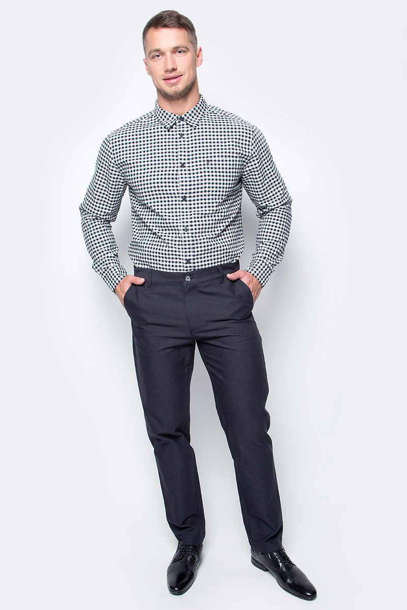 Рубашка мужская Wrangler, цвет: белый, черный. W5760NB02. Размер L (50)W5760NB02Мужская рубашка от Wrangler выполнена из натурального хлопка. Модель с длинными рукавами и отложным воротником застегивается на пуговицы. На груди рубашка дополнена накладным карманом.