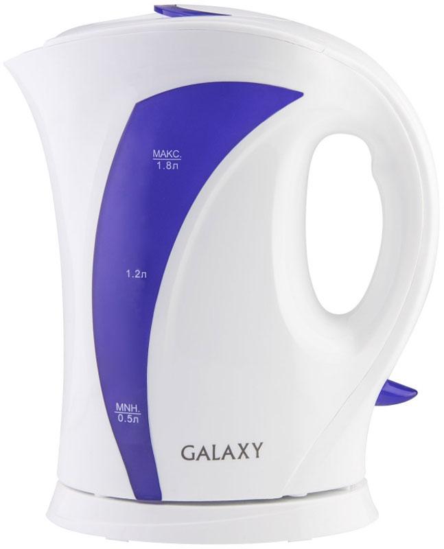 Galaxy GL 0103, White Purple чайник электрический4650067303017Техника для приготовления горячих напитков Galaxy отвечает всем современным требованиям надежности и безопасности. При ее производстве используются только высококачественные и экологически безопасные материалы, а также нагревательные элементы и контроллеры высокого класса надежности. Среди разнообразия моделей каждая будет служить вам долгие годы, наполняя ваш быт комфортом!Galaxy GL 0103 - надежный электрочайник мощностью 2200 Вт в корпусе из высококачественного пластика. Прибор оснащен открытым нагревательным элементом и позволяет вскипятить до 1,8 л воды.Данная модель оборудована светоиндикатором работы, съемным фильтром для воды и шкалой уровня воды. Для обеспечения безопасности при повседневном использовании предусмотрены функции: автовыключение при закипании и автовыключение при отсутствии воды.