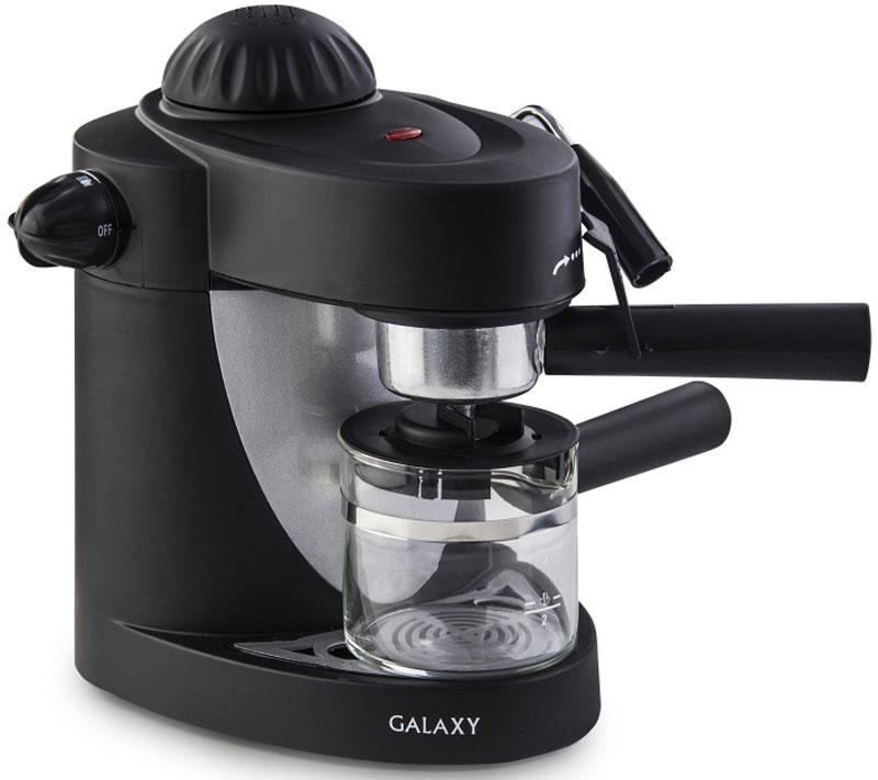 Galaxy GL 0752 кофеварка4650067303123Кофеварка Galaxy GL 0752 - великолепное решение для истинных поклонников крепкого бодрящего напитка. Простая, но максимально удобная конструкция прибора позволит вам без труда приготовить около 2-4 чашек натурального кофе, который подарит вам бодрость на целый день.Корпус выполнен из высококачественного пластика. Этот материал гарантирует привлекательный вид и прекрасные износоустойчивые характеристики кофеварки.Данная модель относится к типу автоматической рожковой эспрессо-кофеварки. Она работает по простому принципу пропускания горячей воды под давлением в несколько атмосфер через слой молотого кофе.Ручной капучинатор дает возможность самостоятельно приготовить капучино или латте. Управление настолько простое и понятное, что с такой машиной справится даже начинающий кофеман!