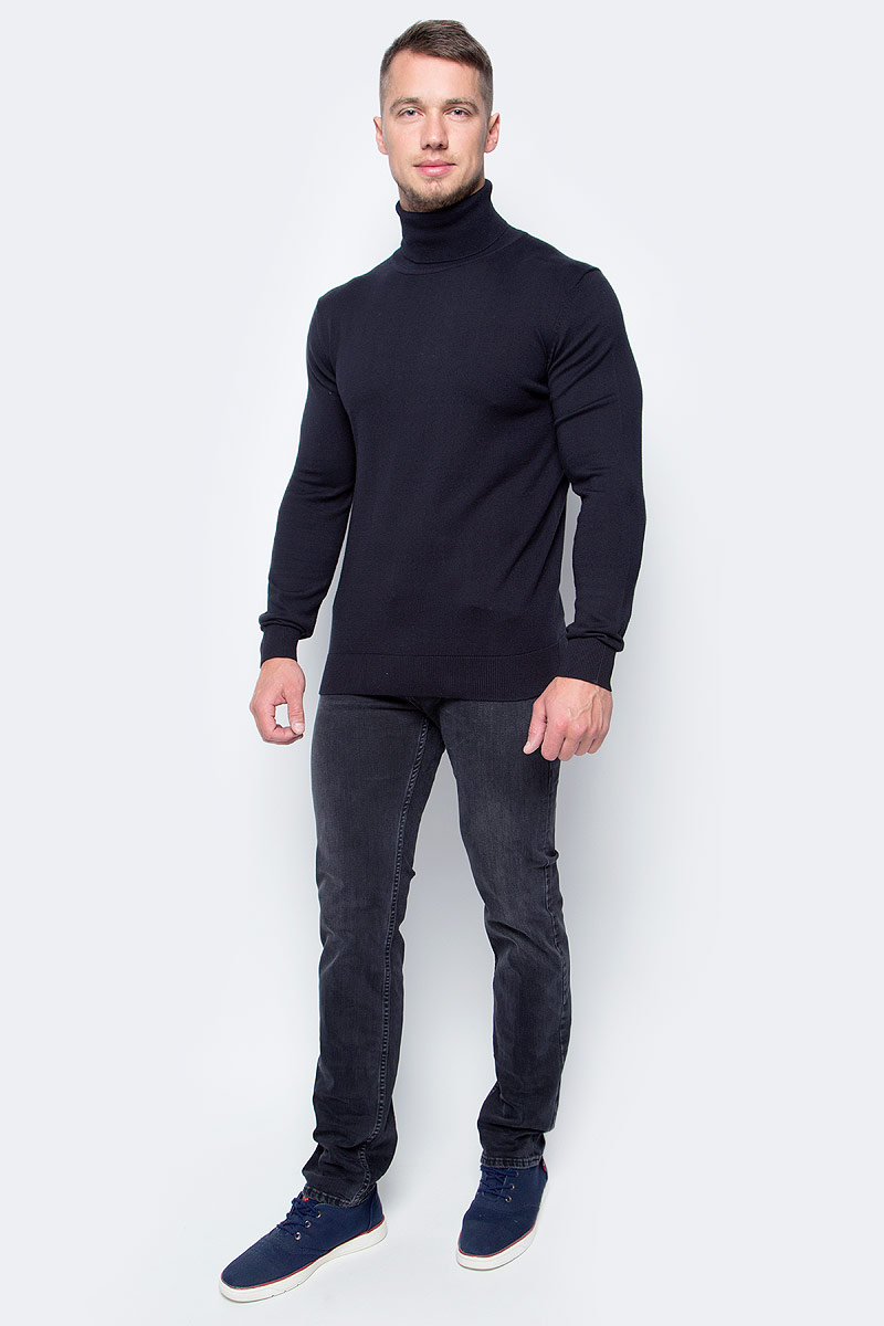 Водолазка мужская Baon, цвет: черный. B727702_Black. Размер L (50)B727702_BlackБазовая водолазка от Baon - лаконичная по своему дизайну модель, которая идеально дополнит как повседневные, так и деловые аутфиты. Изделие выполнено из высококачественного хлопкового трикотажа. Этот материал комфортен в ношении и весьма прост в уходе.