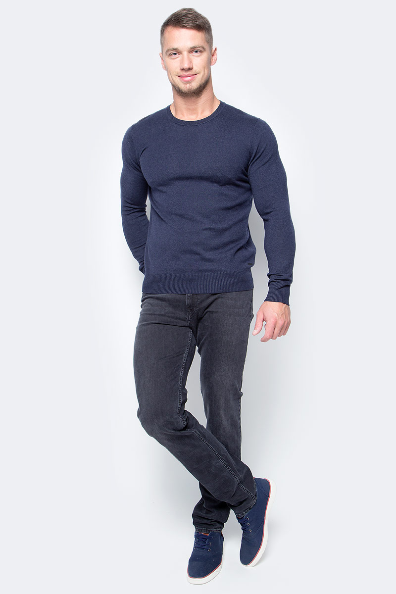 Джемпер мужской Baon, цвет: темно-синий. B637702_Midnight Blue Melange. Размер XXL (54) водолазка мужская baon цвет синий b727502 baltic blue melange размер xxl 54