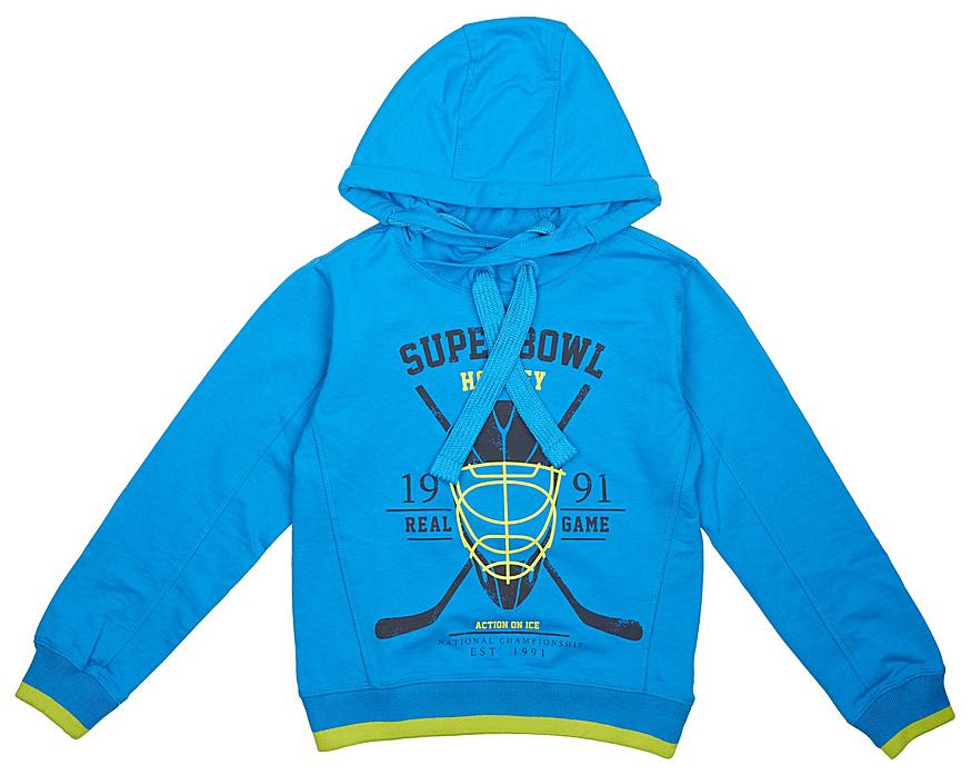 Толстовка для мальчика Sela, цвет: синий. St-813/059-7330. Размер 146St-813/059-7330Толстовка для мальчика от Sela выполнена из высококачественного хлопкового трикотажа. Модель свободного кроя с длинными рукавами и капюшоном со шнурком спереди оформлена принтом.