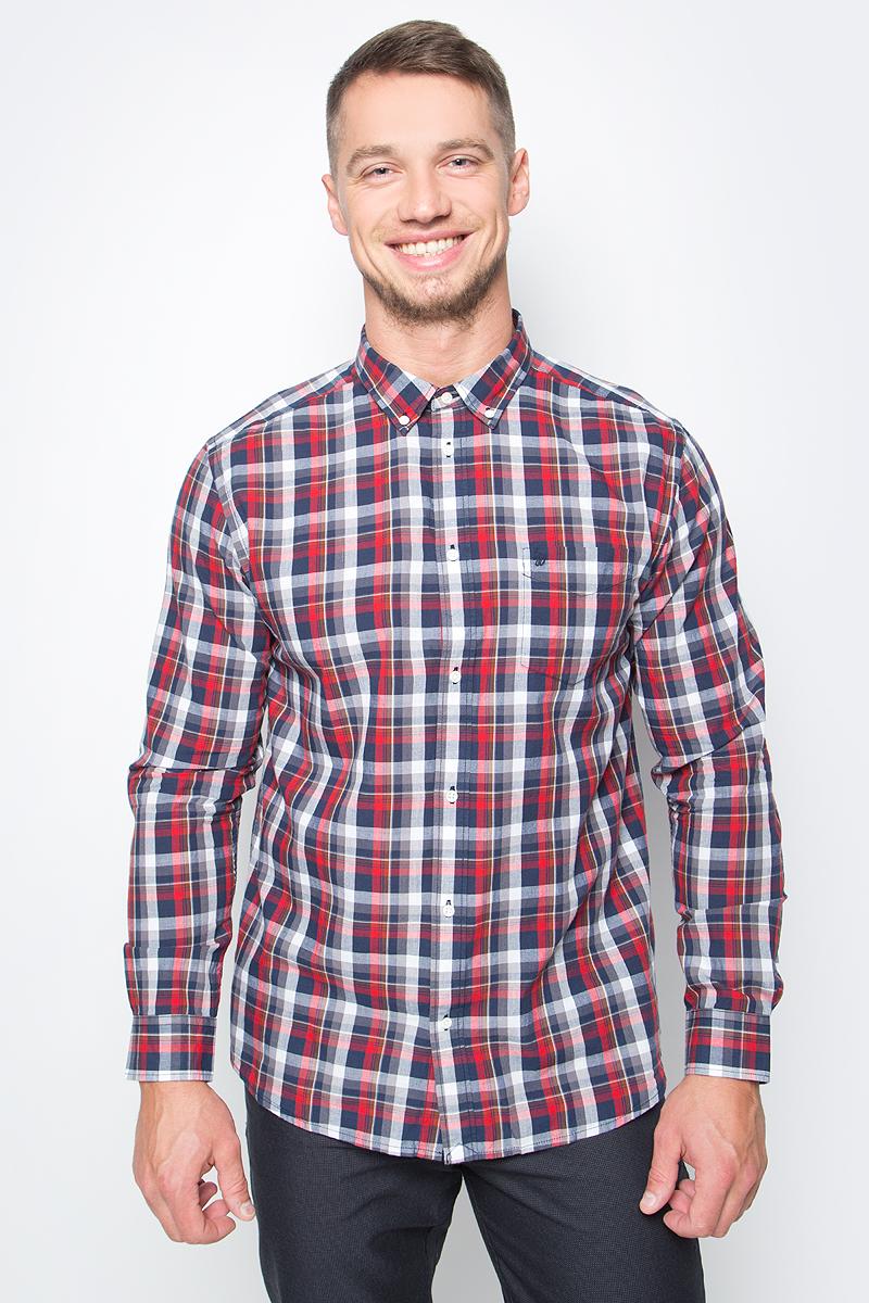 Рубашка мужская Wrangler, цвет: красный, синий. W5874NQ38. Размер S (46)