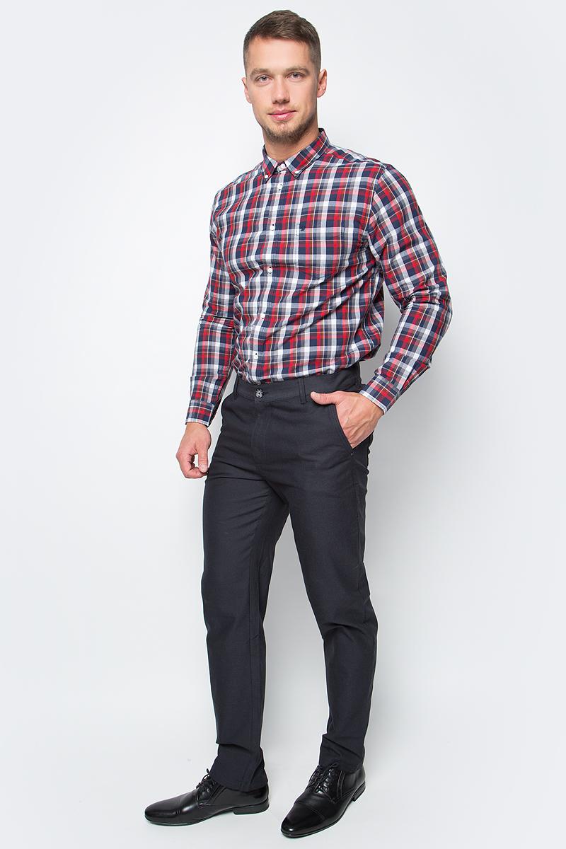 Рубашка мужская Wrangler, цвет: красный, синий. W5874NQ38. Размер XXL (54)W5874NQ38Мужская рубашка от Wrangler выполнена из натурального хлопка. Модель с длинными рукавами и отложным воротником застегивается на пуговицы. На груди рубашка дополнена накладным карманом.
