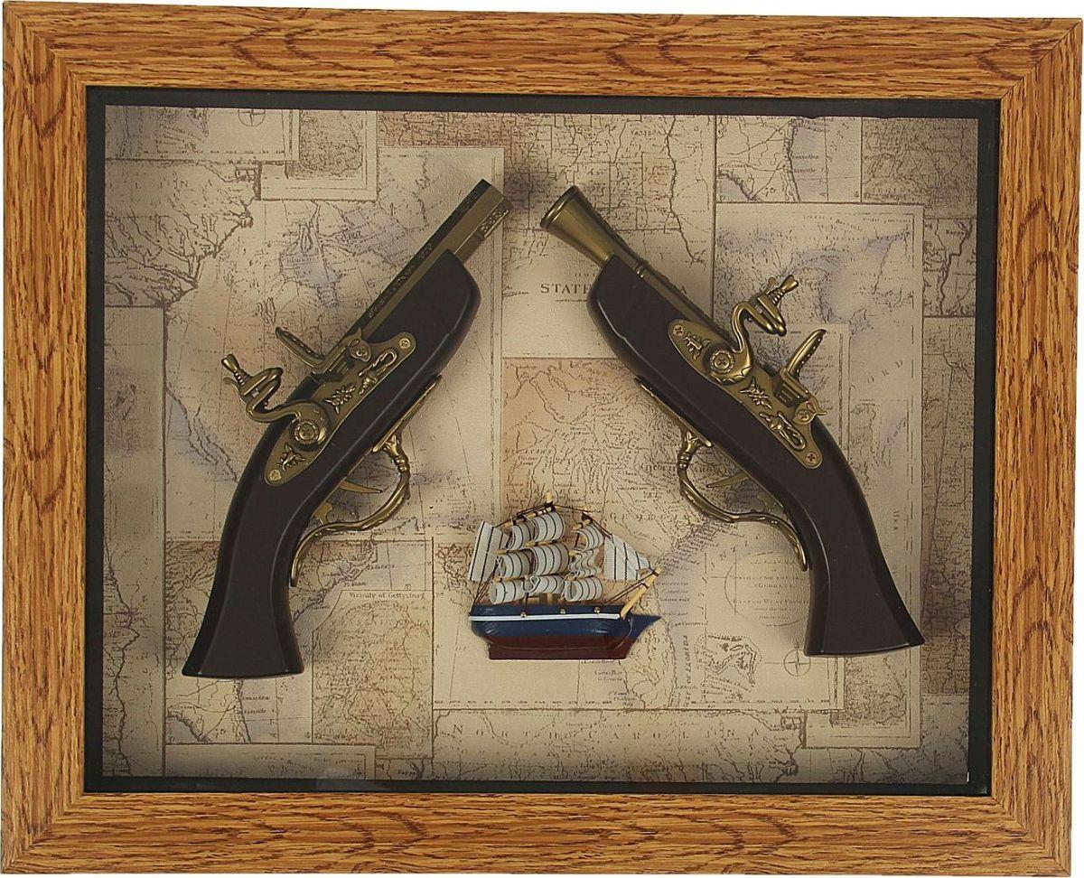Сувенирное оружие Корабль, мушкет, пистолет, в раме, 39 х 49 см2422938Перед вами — сувенир в полном смысле этого слова. И главная его задача — хранить воспоминание о месте, где вы побывали, или о том человеке, который подарил данный предмет. Преподнесите эту вещь своему другу, и она станет достойным украшением его дома.