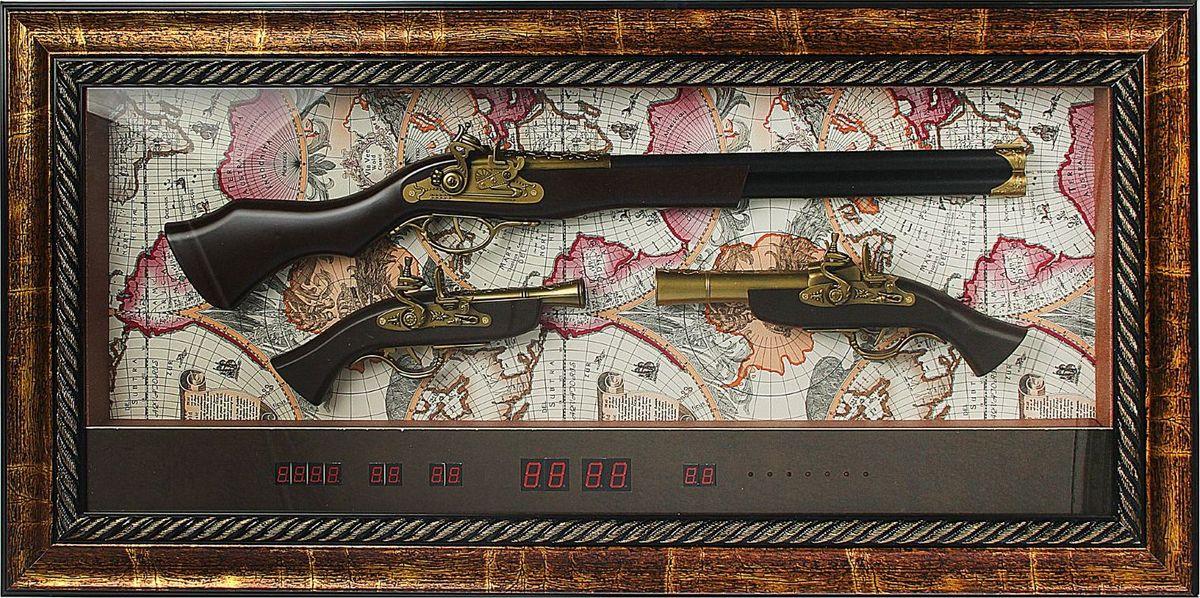 Сувенирное оружие Мушкет, 2 пистолета, с электронными часами, в раме, 47 х 97 см1640931Перед вами — сувенир в полном смысле этого слова. И главная его задача — хранить воспоминание о месте, где вы побывали, или о том человеке, который подарил данный предмет. Преподнесите эту вещь своему другу, и она станет достойным украшением его дома.