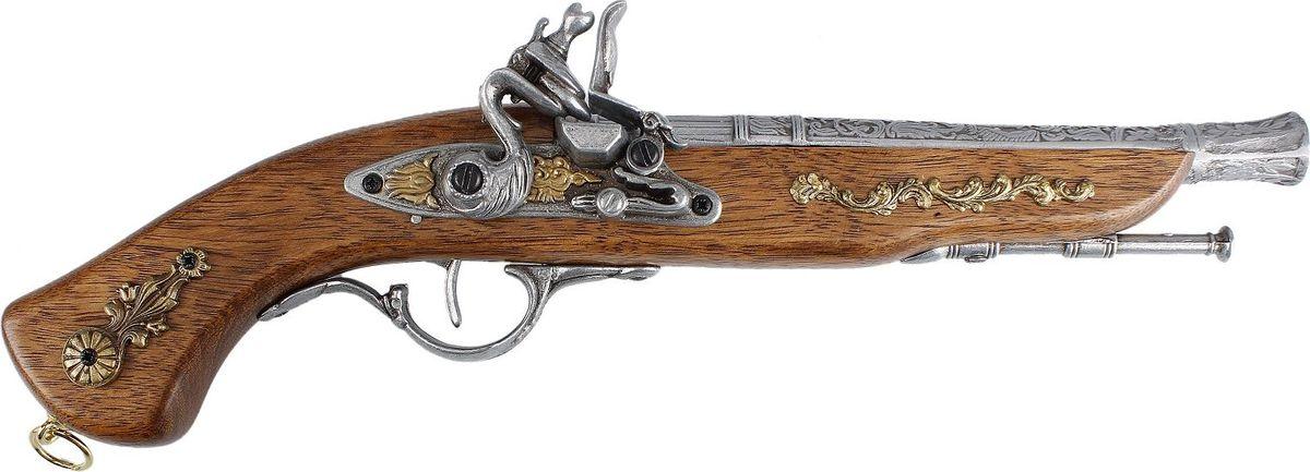 Сувенирное оружие La Balestra Макет пистоля France, 40 х 9,5 х 4,5 см2422929Этот пистоль так и хочется разглядеть поближе, ощутить, как удобно и надежно он лежит в руке. И пусть это не боевое оружие, а его сувенирная копия, она изготовлена с таким вниманием к деталям, что выглядит удивительно реалистично. Изящный и элегантный, с ненавязчивым золотистым декором, такой пистоль станет оригинальным подарком для настоящего мужчины, неравнодушного к оружию и умеющего ценить гармоничное сочетание красоты и качества.Пистоль из белой лимбы, металлические детали из цинково-алюминиевого сплава и железа.