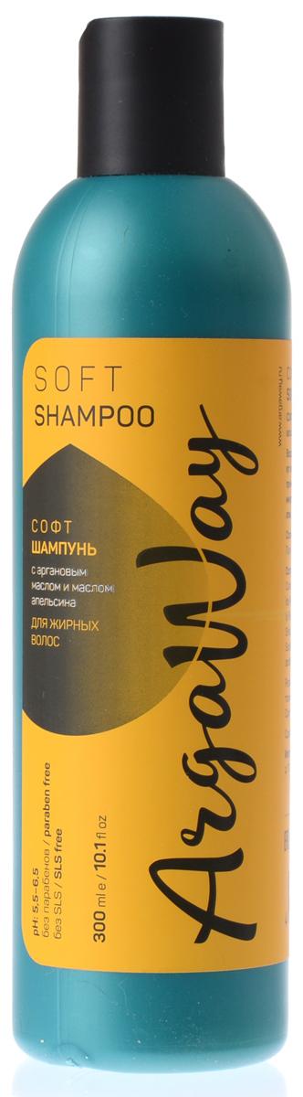 Argaway Софт-Шампунь с аргановым маслом и маслом апельсина, для жирных волос для жирных волос, 300 мл4631111171370Шампунь с аргановым маслом и маслом апельсина для жирных волос. Масла обеспечивают антибактериальный эффект, нормализуют процесс себорегуляции. Устраняют причины дискомфорта (зуд, перхоть, раздражение), нормализуя ее микрофлору. Экстракты ромашки, шалфея, мяты увлажняют и смягчают кожу головы.