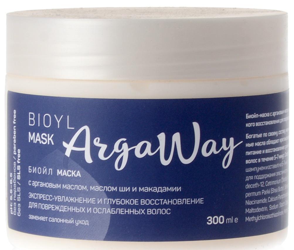 Argaway Биойл-Маска с аргановым маслом, маслом ши и макадамии, для поврежденных и ослабленных волос, 300 мл sea of spa кондиционер для окраш поврежденных волос с маслом аргании и ши 400 мл