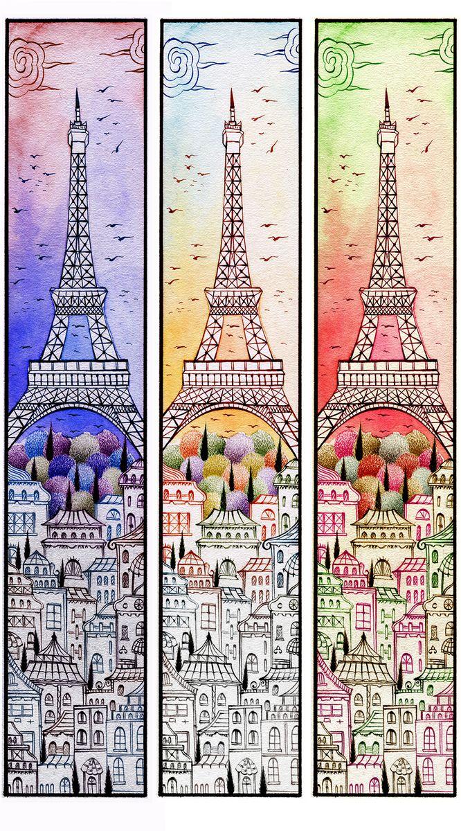Фотообои антивандальные Antimarker Париж утром, днем и вечером, супермоющиеся, 150 х 270 см1-A-1022