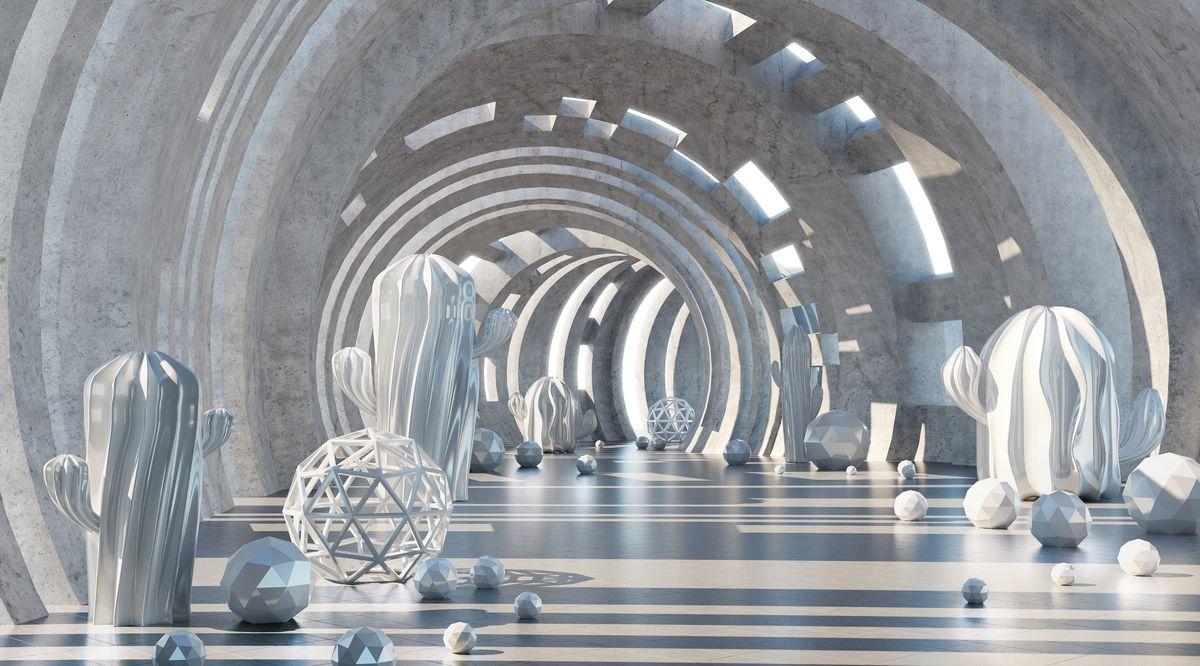 Фотообои антивандальные Antimarker 3D Тоннель времени, супермоющиеся, 270 х 150 см2-A-2002