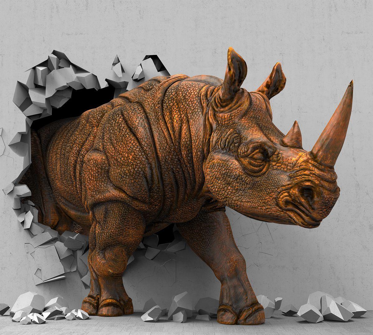 Фотообои антивандальные Antimarker 3D Счастливый носорог, супермоющиеся, 300 х 270 см6-A-6005
