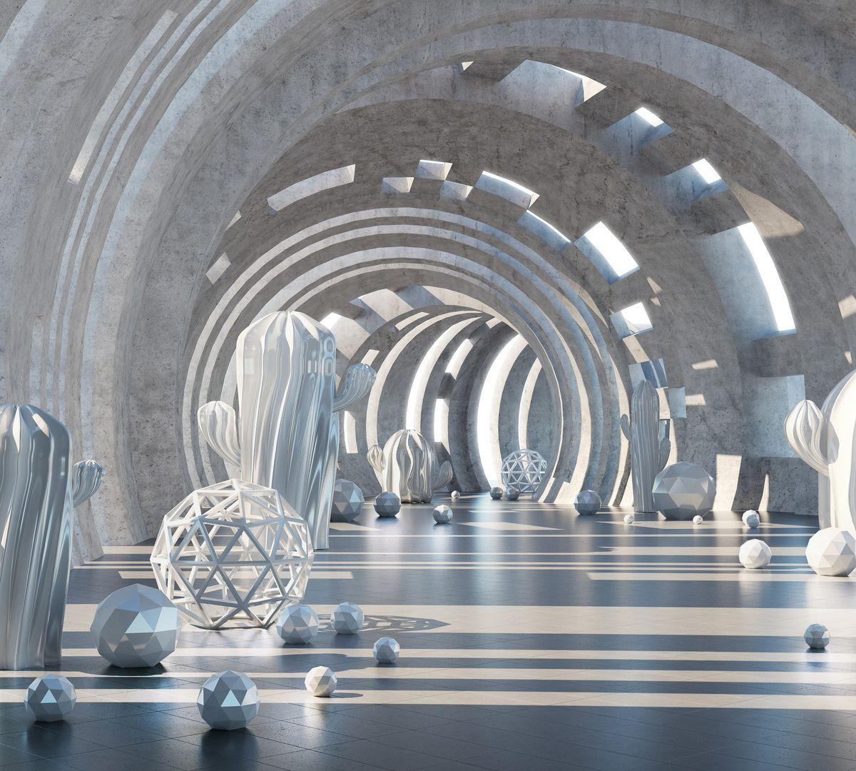 Фотообои антивандальные Antimarker 3D Тоннель времени, супермоющиеся, 300 х 270 см6-A-6014