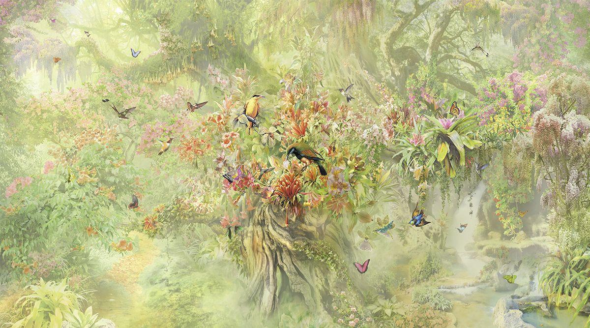 Фотообои антивандальные Antimarker Райская птичка, супермоющиеся, 270 х 150 см2-А-2001