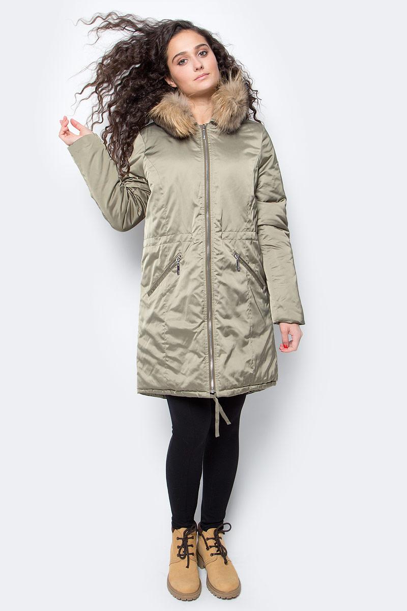 Куртка женская Baon, цвет: зелено-серый. B037561_Dry Rosemary. Размер XL (50)B037561_Dry RosemaryМодная куртка-парка от Baon выполнена из ткани с атласной фактурой. Роскошное сочетание материалов поможет вам создать эффектный аутфит. Капюшон не отстегивается, но при необходимости вы сможете отстегнуть опушку из натурального меха енота. Куртка застегивается на молнию, по бокам расположены карманы с застежками-молниями. Посадка изделия по талии регулируется при помощи внутренней кулиски со шнурком. Нижняя часть изделия также дополнена кулиской, а сзади расположен классический элемент парки - шлица.