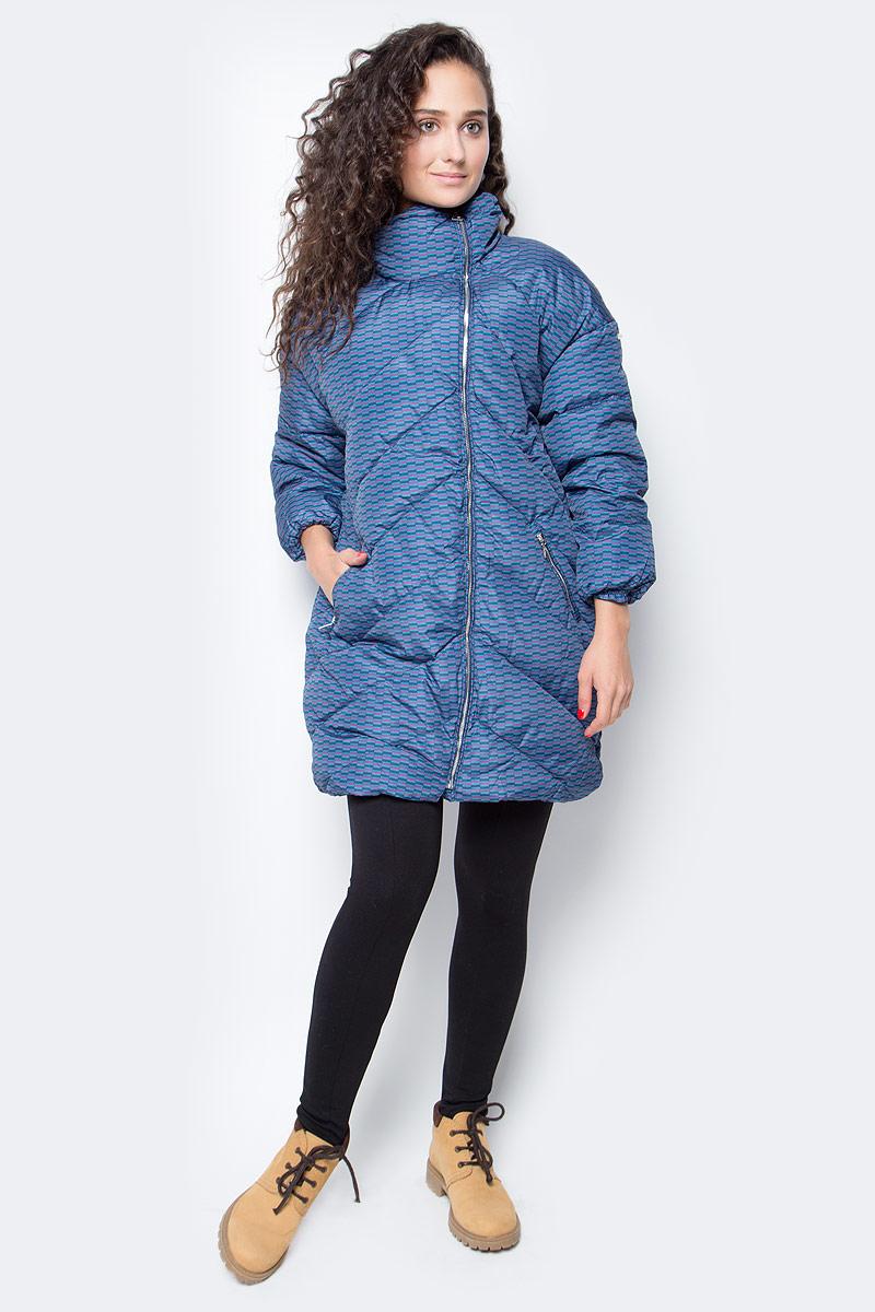Пуховик женский Baon, цвет: синий. B007538_Cold Wave Printed. Размер XL (50) кардиган женский baon цвет черный b147505 black размер xl 50