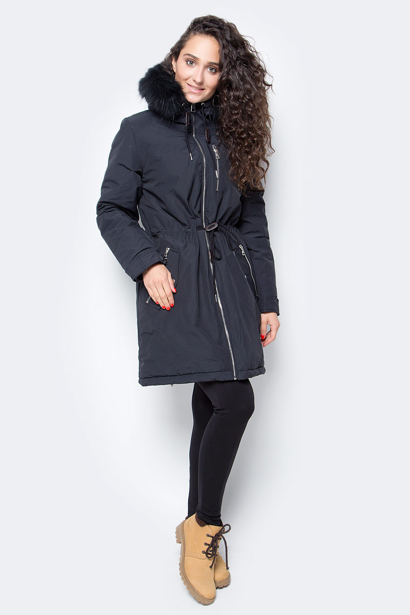Куртка женская Baon, цвет: черный. B037517_Black. Размер XXL (52)B037517_BlackЖенская куртка-парка от Baon выполнена из плотного хлопкового текстиля на синтепоновом утеплителе. Модель приталенного кроя застегивается на молнию. Куртка дополнена боковыми и нагрудными карманами на молниях. Капюшон оторочен съемным мехом енота.