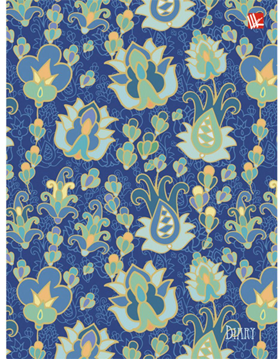 Канц-Эксмо Ежедневник Орнамент Синие цветы недатированный 112 листов формат А6+ ежедневник эксмо а6 112л н датир орнамент золотые олени твердая обложка