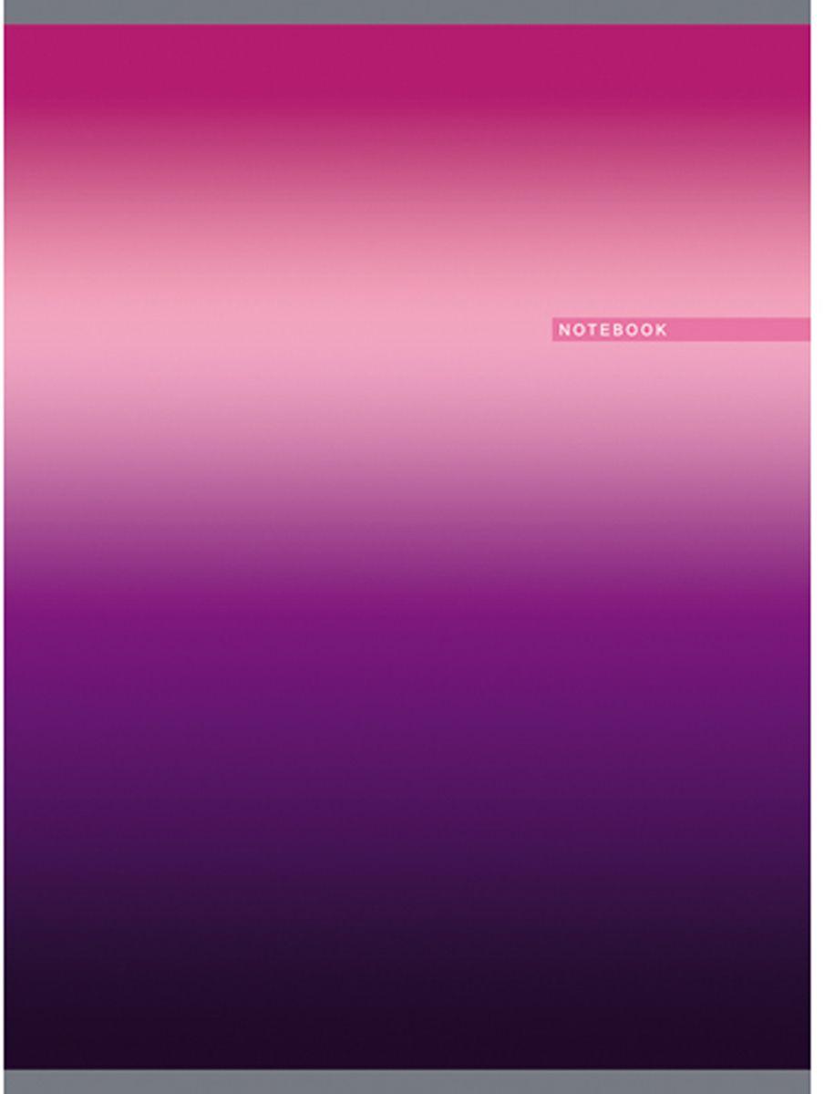 Канц-Эксмо Тетрадь Градиент 80 листов в клетку цвет лиловый формат А4ТГ4804282Тетрадь для конспектов А4 80л., скрепка, клетка, обложка: мелованный картон, глянцевая ламинация, печать по металлизированной пленке серебро, бумага офсетная 60 г/м2. Лиловый градиент (80л., клетка)