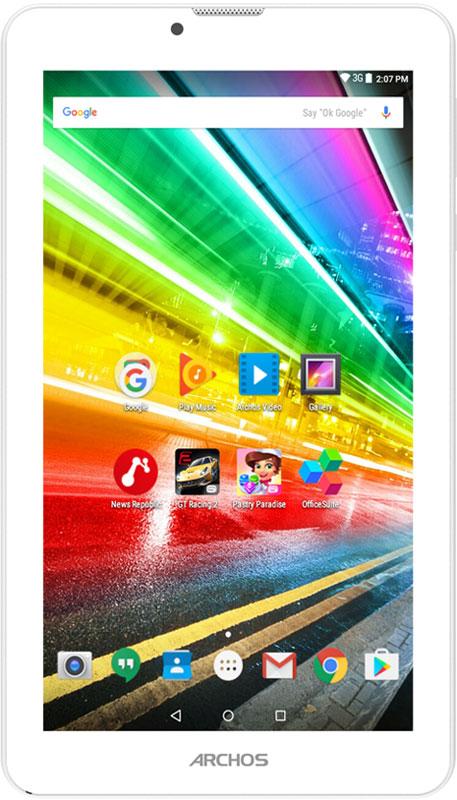 Archos 70 Platinum 3G70 PLATINUM 3GКогда вы в пути, оставайтесь на связи, как будто вы дома, благодаря поддержке 3G/H+ в ARCHOS 70 Platinum 3G. Это по-настоящему универсальный планшет, с помощью которого можно делать отличные снимки, играть в современные игры и смотреть фильмы. С учетом доступной цены, Archos 70 Platinum 3G превращается в незаменимого помощника.Archos 70 Platinum 3G оснащен 4-ядерным процессором, который позволяет наслаждаться современными играми во всей их красе. Планшет обладает потрясающей поддержкой форматов, благодаря этому вы можете смотреть любые видео с помощью приложения Archos Video Player app на роскошном IPS-дисплее с диагональю 7 дюймов.Archos 70 Platinum 3G оснащен передней и задней камерами, чтобы вы могли сделать яркие кадры запоминающихся событий или провести сеанс видео-связи с друзьями или коллегами, где бы вы ни находились.Беспроводные технологии непрерывно развиваются, что позволяет поставщикам услуг предлагать более быстрый доступ в Интернет. Технология 3G, используемая в Archos 70 Platinum, позволяет быстро передавать данные в любом месте, куда бы вас ни занесло.Archos 70 Platinum 3G работает на платформе Android 6.0 Marshmallow, в основе которой лежит безопасность и удобство использования. Традиционно у пользователя есть доступ к магазину Google Play с миллионами игр и приложений.Планшет сертифицирован EAC и имеет русифицированный интерфейс меню, а также Руководство пользователя.