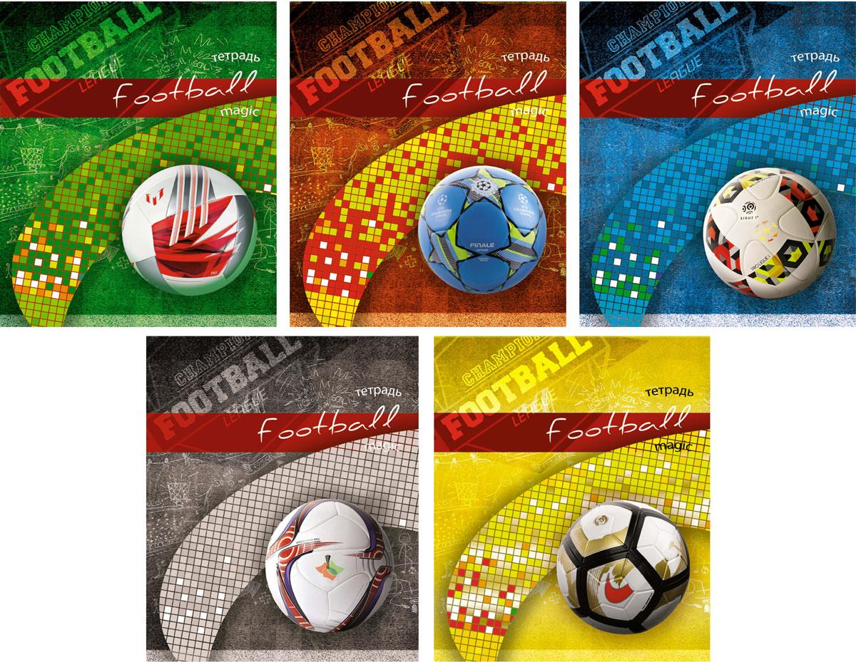 КТС-Про Набор тетрадей Футбольный мяч 48 листов в клетку 5 штС4066-03Комплект общих тетрадей Футбольный мяч состоит из 5 тетрадей формата А5. Внутренний блок выполнен из высококачественной офсетной бумаги и содержит 48 листов в стандартную голубую клетку с красными полями. Обложка выполнена из мелованного картона, в оформлении использован выборочный Уф лак, который подчеркивает замысел дизайнера.