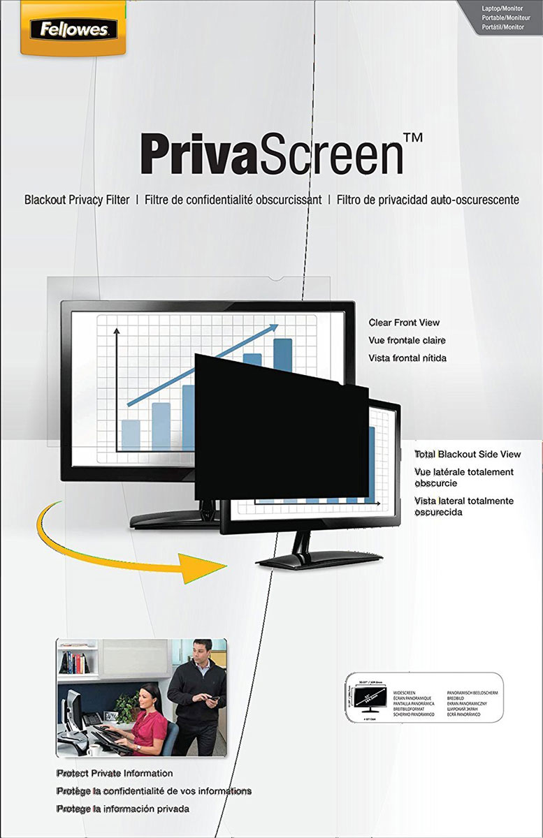 Fellowes Privascreen 13.3 16:10, фильтр конфиденциальностиFS-48143Fellowes Privascreen предназначен для защиты информации от посторонних - затемняет экран при просмотре под углом от 30 градусов, при этом при прямом просмотре изображение остается четким. Устраняет блики, защищает экран от царапин и отпечатков пальцев. Легко устанавливается и удаляется.Размер экрана 179 х 287 мм.