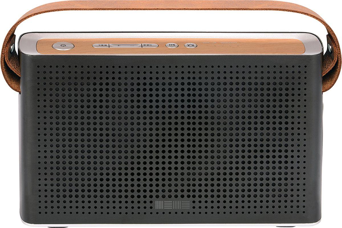 Interstep SBS-230, Metal Black портативная акустическая системаIS-LS-SBS230MBL-000B201Портативная акустическая система 10W, FM, PowerBank 4400mAh, Surround 360, металлический корпус, стильный кожаный ремень, заряд от microUSB
