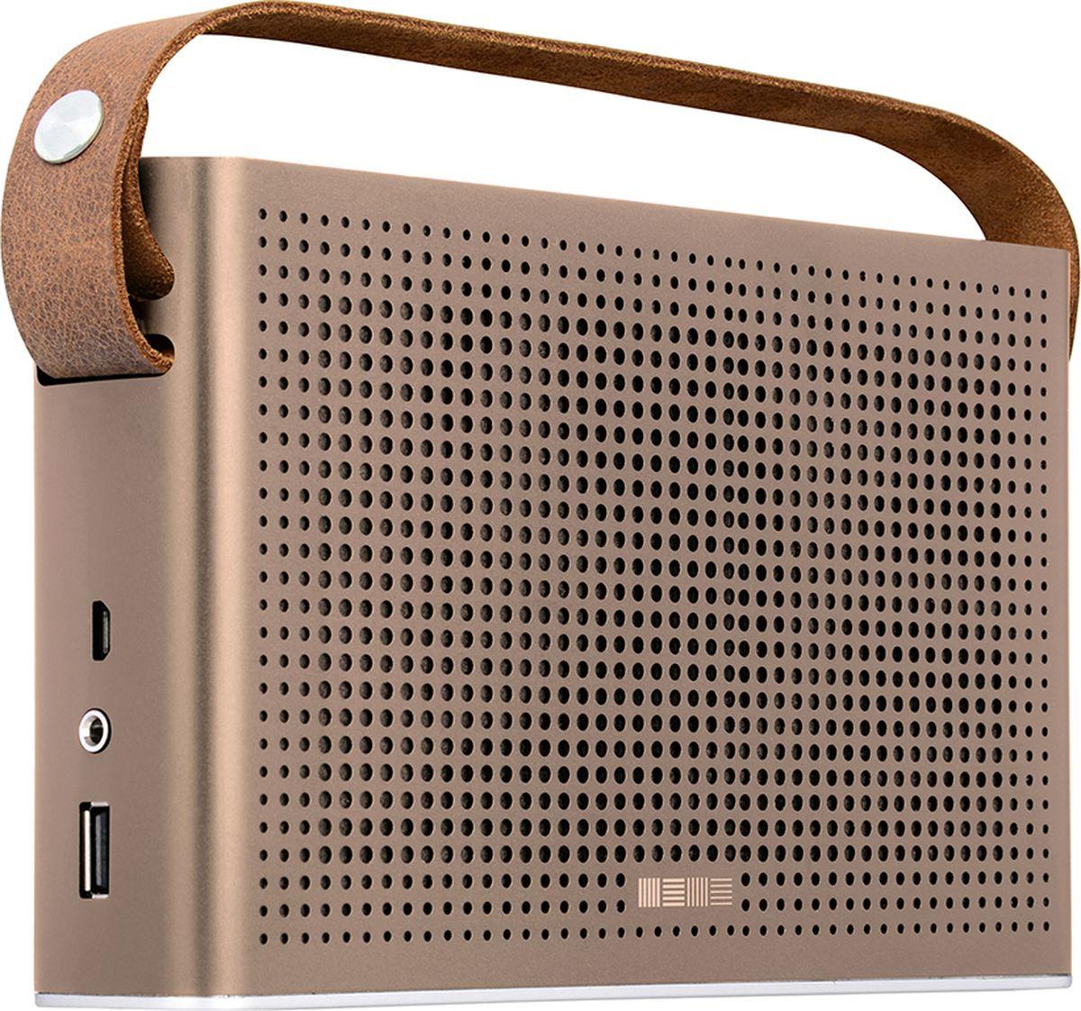 Interstep SBS-230, Metal Bronz портативная акустическая системаIS-LS-SBS230MBR-000B201Interstep SBS-230 - это полнофункциональная аудиосистема, которая отличается высоким качеством звучания и совместима с большинством мультимедийных и аудиоустройств. Акустика оснащена стандартным аудиовходом мини-джек 3,5 мм, интерфейсом Bluethoot и FM-тюнером. На верхней грани корпуса расположилась удобная панель управления. Литий-ионный аккумулятор емкостью 4400 мАч позволяет наслаждаться качественным звуком до 9 часов без подзарядки. Interstep SBS-230 можно использовать в качестве PowerBanka.