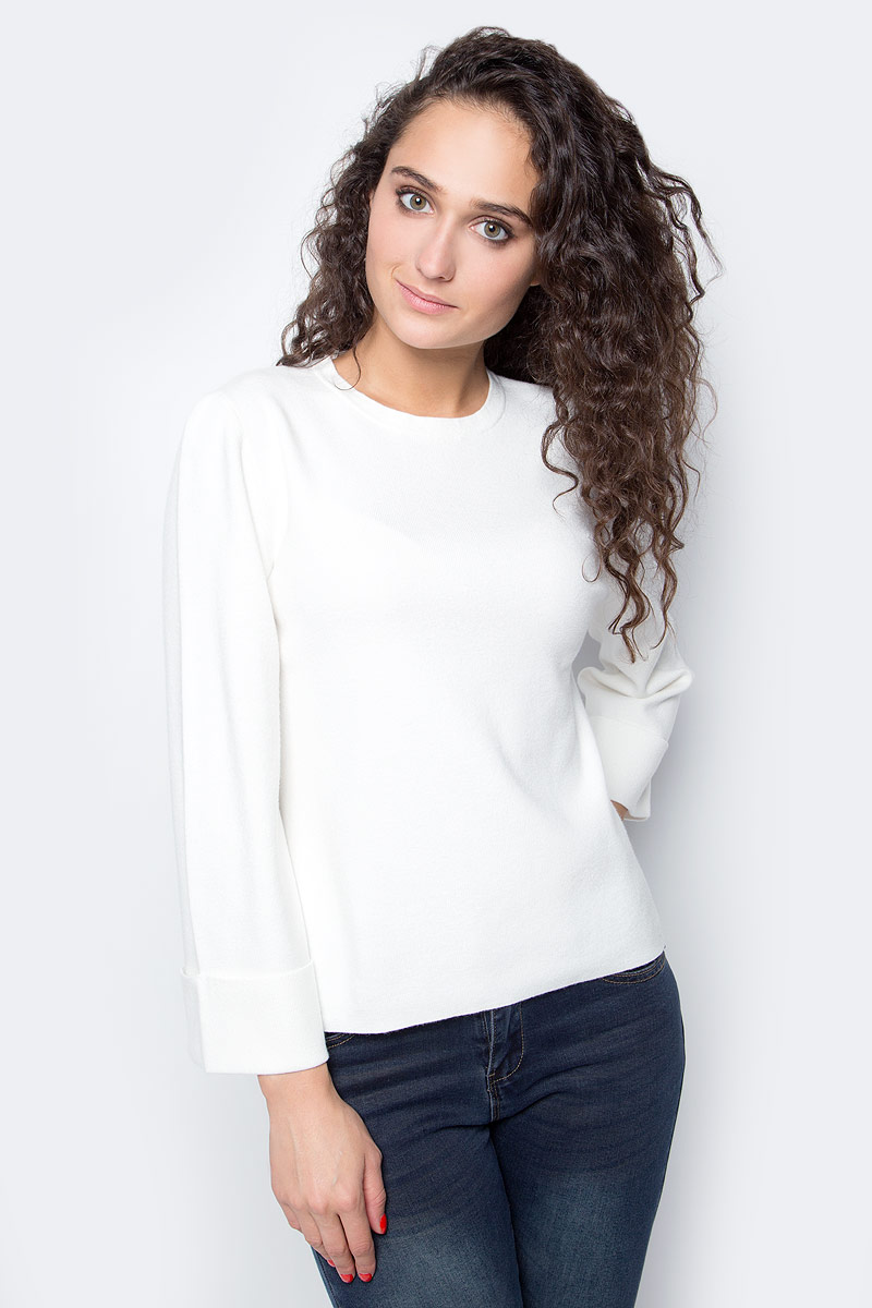 Джемпер женский Baon, цвет: белый. B137524_Milk. Размер S (44) пуховик женский baon цвет синий b007569