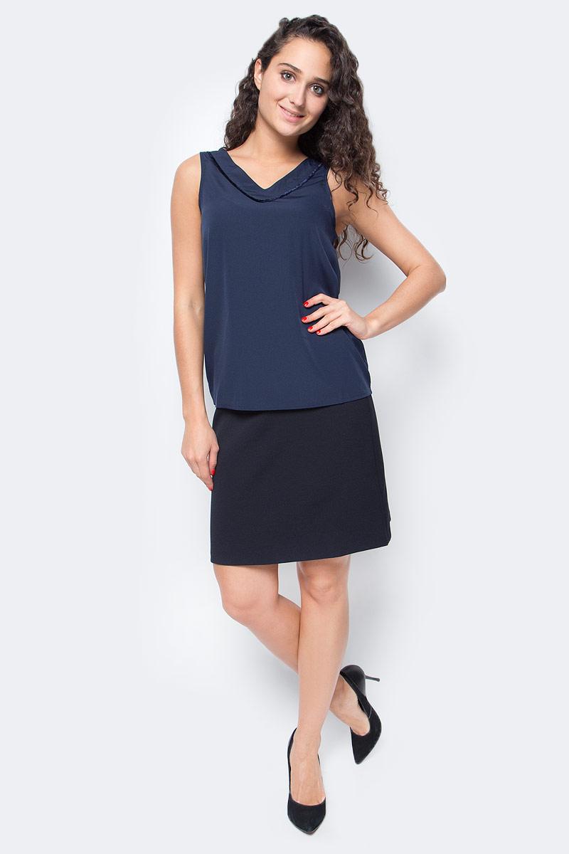 Топ женский Vero Moda, цвет: синий. 10185861_Navy Blazer. Размер XS (40/42)10185861_Navy BlazerТоп женский Vero Moda выполнен из качественного материала. Модель свободного кроя с V-образным вырезом горловины.