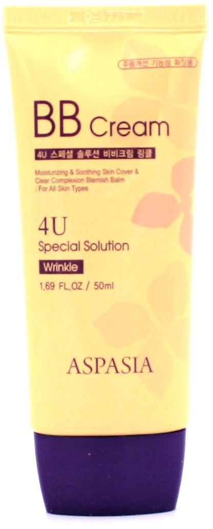 Aspasia 4U ББ-крем с антиэйдж эффектом, 50 мл284279Прекрасно ложится даже на не подготовленную при помощи базв кожу, благодаря высокой степени крывистости создает идеально ровный тон, маскирует мелкие недостатки кожи. Содержит аденозин, оказывающий омолаживающее действие.