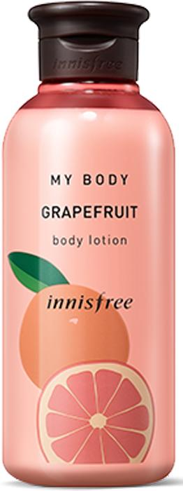 Innisfree Лосьон для тела грэйпфрут, 300 мл530878Грейпфрут обладает незабываемым терпким ароматом. Грейпфрутовое масло оказывает стимулирующее воздействие на лимфатическую систему и прекрасно питает клетки тканей, насыщая их витаминами и минеральными веществами. Оно способствует восстановлению баланса жидкостей в организме, выводит лишнюю воду и снимает отеки.
