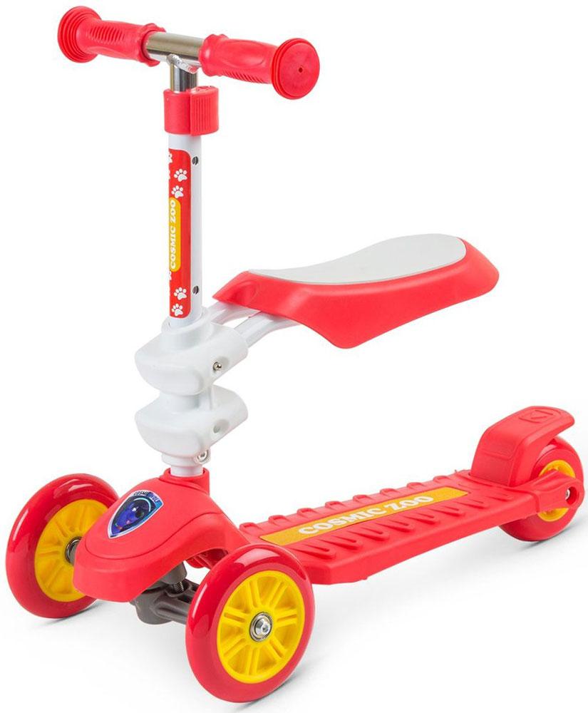 Самокат Small Rider Zoo Galaxy Seat, 3-колесный, с сиденьем, цвет: красный1149164Самокат Zoo Galaxy Seat - это потрясающая новинка, объединяющая в себе и трехколесный самокат, и каталку. Самокат предназначен для широкого возрастного диапазона: для детей 1,5 до 5 лет! Уже от 1,5 лет можно кататься на этом самокате в режиме каталки. Для этого нужно установить сиденье в одном из двух уровней высоты.Сиденье - широкое, мягкое, на котором приятно и комфортно сидеть ребенку. Оно надежно зафиксировано и выдерживает вес седока до 20 кг. После того как малыш освоится, можно снять сиденье и использовать его в режиме полноценного трехколесного самоката. Этот трехколесный самокат управляется с помощью наклонов и помогает развить ребенку чувство равновесия и баланса.Для того чтобы повернуть нужно перенести вес тела в одну из сторон. Детям это очень нравится, и они быстро овладевают этой техникой. Некоторые начинают кататься совсем рано - уже в год и восемь месяцев они во всю рулят на своем транспорте. Самокат имеет большую, широкую платформу, на которую удобно ставить одну или даже обе ноги. Задний тормоз - массивный, в него легко попасть ногой. Для большей грузоподъемности и надежности сзади идет также утолщенное колесо из каучука. Отрегулируйте оптимальную высоту ручки, которая будет идеально подходить для ребенка. Кстати, рукоятки у самоката имеют эргономичную форму и легко обхватываются детскими ручками.На передней части самоката идет фирменная наклейка с персонажем Cosmic Zoo. Вместе с ярким дизайном это создаст ощущение игры и хорошее настроение.