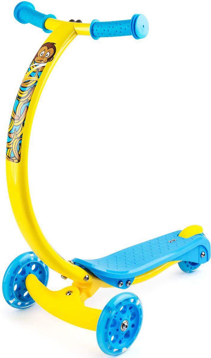 Самокат Zycom Zipster, со светящимися колесами, цвет: желтый1149147Будущее здесь уже сегодня. Zycom Zipster - модель с веселыми зверюшками и еще более яркими детскими цветами, рассчитанная на детей от 2 до 5 лет. Яркие цвета наполняют настроем лета и солнца, а фирменная изогнутая ручка (в форме улыбки) поражает элегантностью, необычностью и удобством для детей. Тигренок, обезьянка, зайчик и котенок - веселые рожицы лесных персонажей сделают самокат живым и одушевленным, способным поиграть с вашим малышом, а не просто бездушным транспортом. Что поразительно - самокат имеет еще и светящиеся колеса, которые будут дополнительным развлечением на прогулке. Во время движения они мигают и переливаются, создавая ощущения праздника или движущегося космического корабля. Изогнутая ручка самоката не только поражает красотой и полетом современной инженерной мысли, но также невероятно удобна.Ведь положение рук под углом 45 градусов - при обхвате рукояток - более естественно для ребенка, удобно и комфортно. Когда ручки в таком положении, то ребенку не нужно наклоняться вперед, или принимать неестественную позу. Ребенок может кататься с ровной спиной. Также благодаря изогнутой форме коленки не будут задевать руль при катании. Самокат поворачивает за счет наклонов (перенесения тяжести тела) ребенка влево-вправо. Это учит балансировать и развивает чувство равновесия у детей, а также в целях безопасности не дает сделать слишком резкий поворот. Самокат Zycom Zipster очень компактен - высота ручки от пола составляет 61 см, при этом она оптимальна для детей различного роста в возрасте от 2 до 5 лет. Максимальная допустимая нагрузка - 50 кг. Это очень много. Такой надежностью не может похвастаться ни один трехколесный самокат в данной категории. Благодаря тому, что ручка сделана из алюминия специальным образом, то самокат имеет малый вес при высокой надежности конструкции. Производитель предусмотрел эргономичные рукоятки, которые легко и просто обхватить детской рукой, а также компактный и