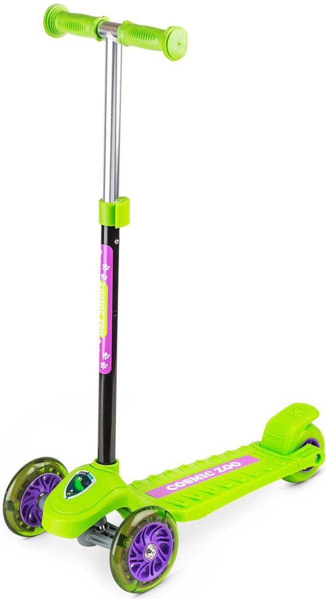 Самокат Small Rider  Zoo Galaxy One , 3-колесный, со светящимися колесами, цвет: зеленый - Самокаты